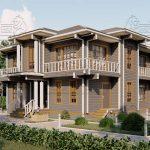Двухэтажный дом из бруса в чашу 12,5 на 15,5 м «Зодчий» (5)