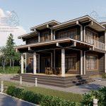 Двухэтажный дом из бруса в чашу 12,5 на 15,5 м «Зодчий» (6)