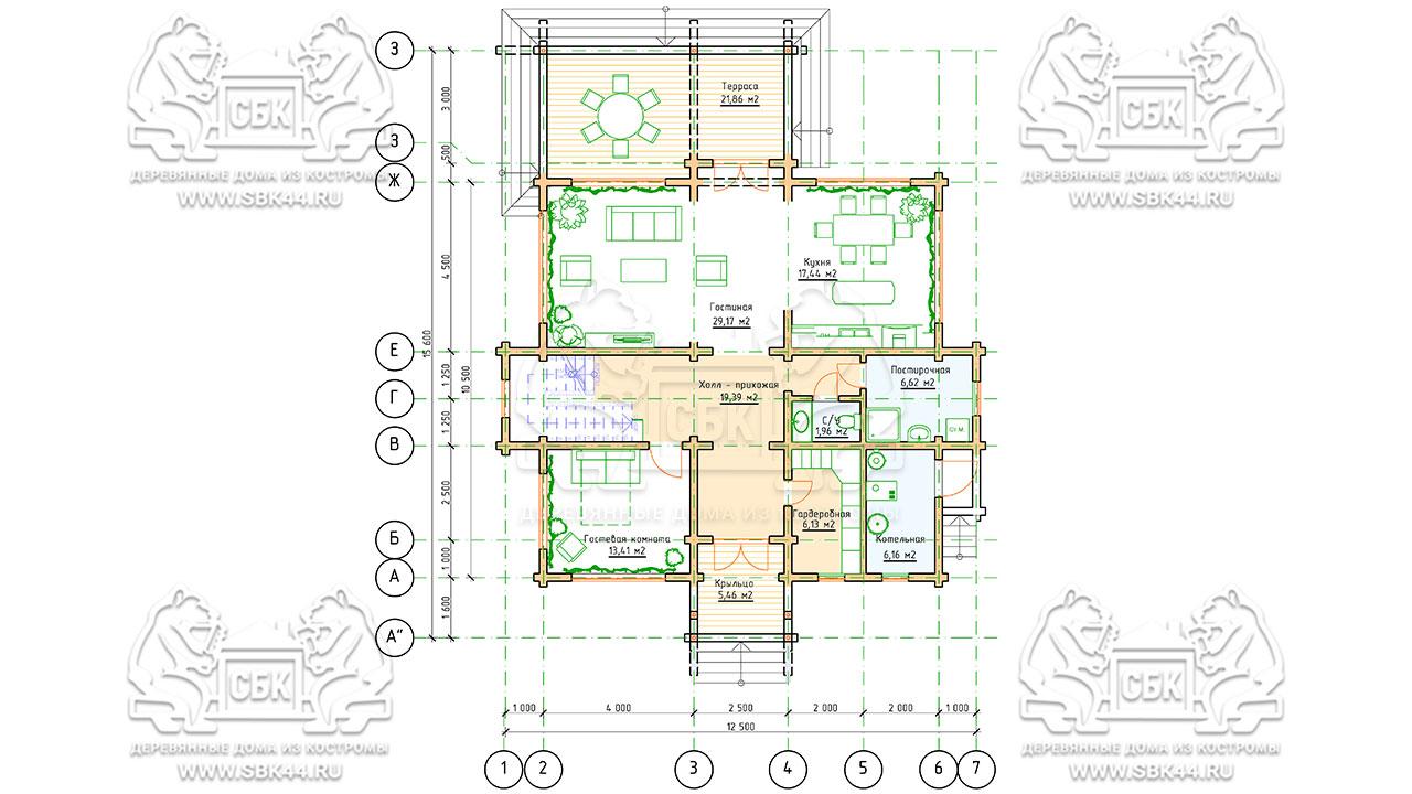 Двухэтажный дом из бруса в чашу 12,5 на 15,5 м «Зодчий» - план 1 этажа