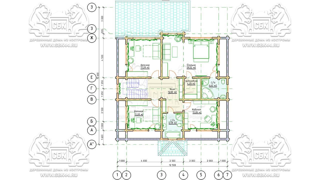 Двухэтажный дом из бруса в чашу 12,5 на 15,5 м «Зодчий» - план 2 этажа