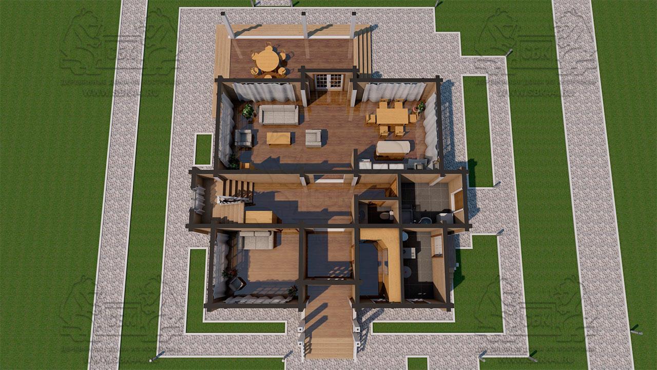 Двухэтажный дом из бруса в чашу 12,5 на 15,5 м «Зодчий» - планировка с смебелью 1