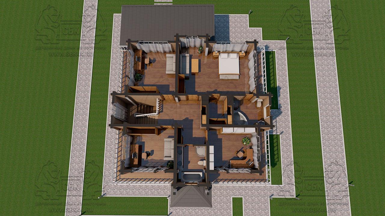 Двухэтажный дом из бруса в чашу 12,5 на 15,5 м «Зодчий» - планировка с смебелью 2