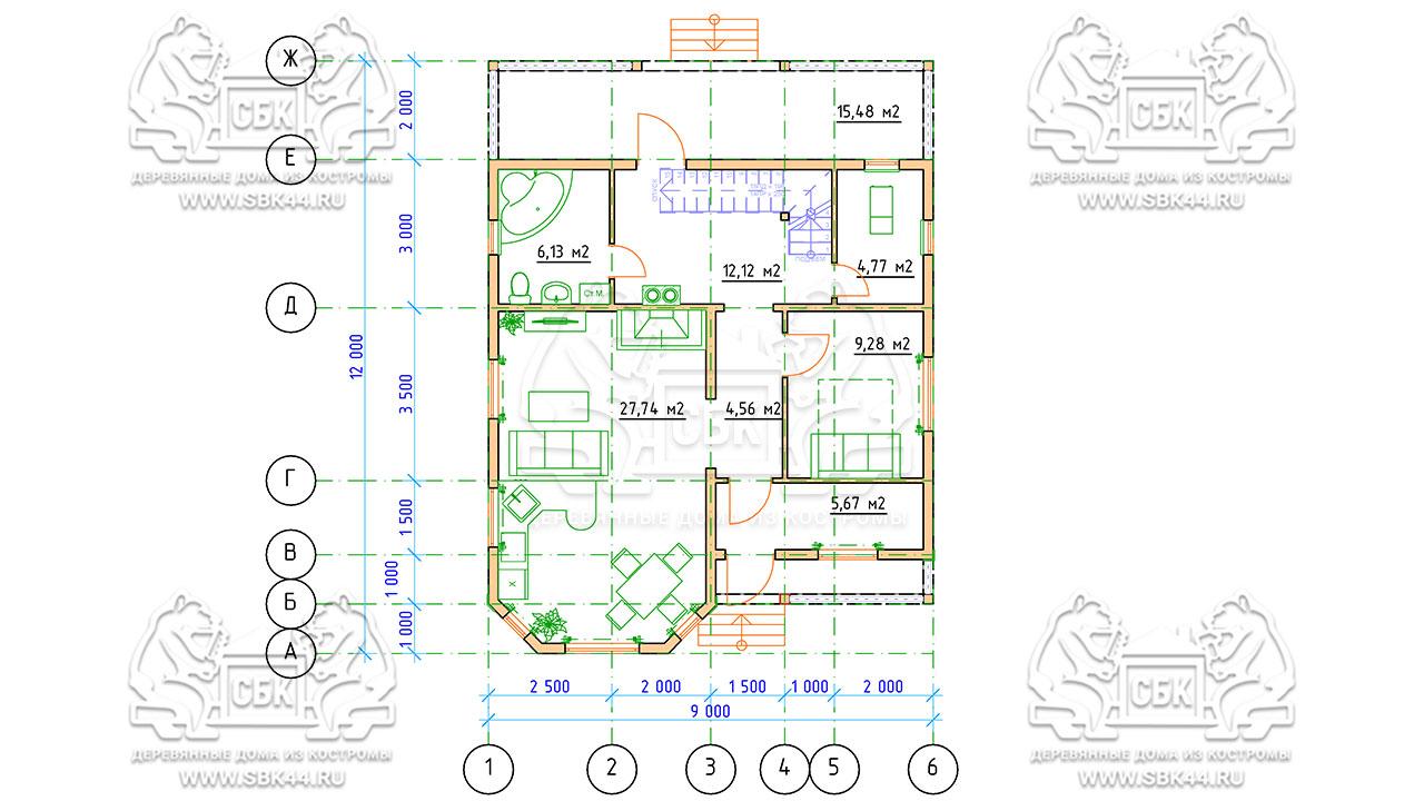 Проект дома из бруса 9 на 12 «Заокский» с эркером - план 1 этажа