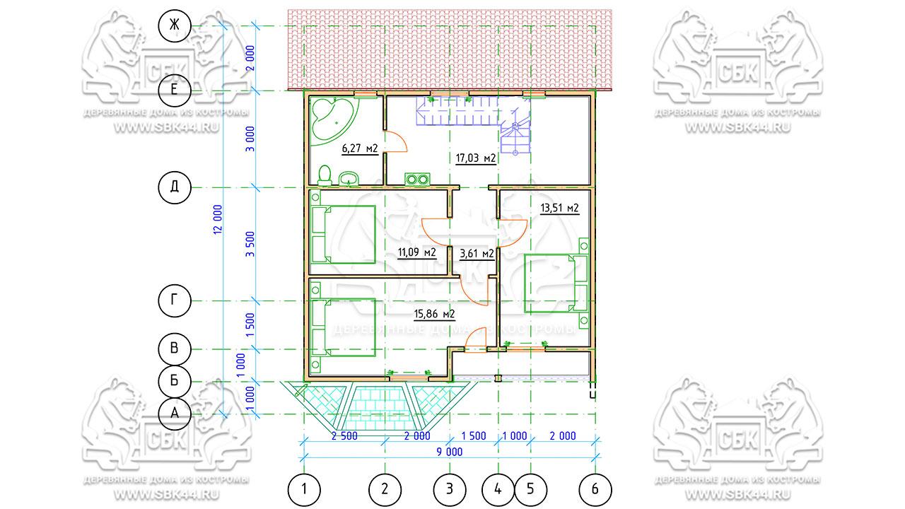 Проект дома из бруса 9 на 12 «Заокский» с эркером - план 2 этажа