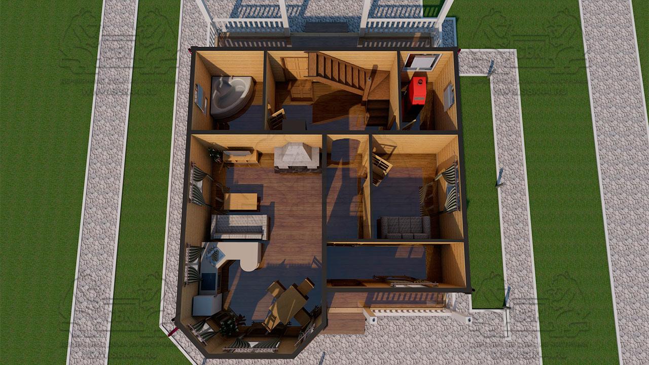 Проект дома из бруса 9 на 12 «Заокский» с эркером - планировка с мебелью 1