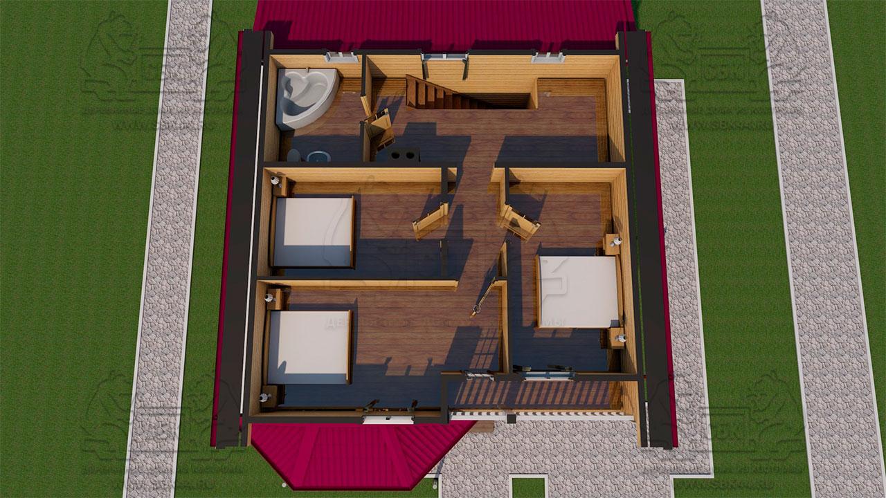 Проект дома из бруса 9 на 12 «Заокский» с эркером - планировка с мебелью 2