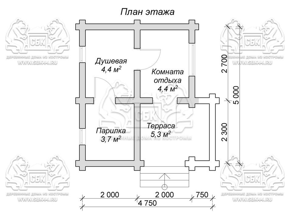 Баня из оцилиндрованного бревна 5 на 4,75 Петровская план 1