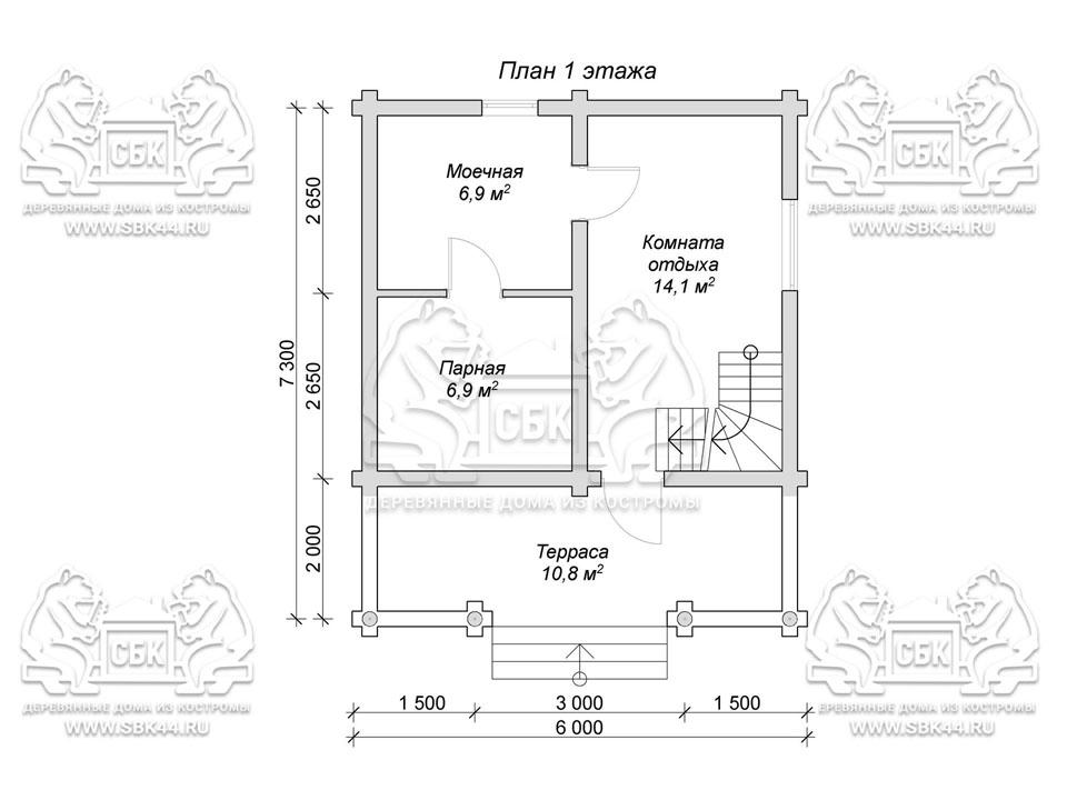 Баня из оцилиндрованного бревна 6 на 7,3 План 1-го эт