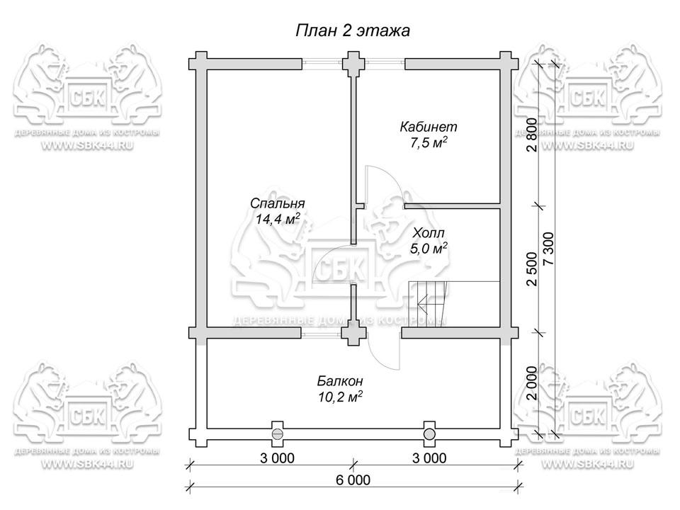 Баня из оцилиндрованного бревна 6 на 7,3 план 2-го эт