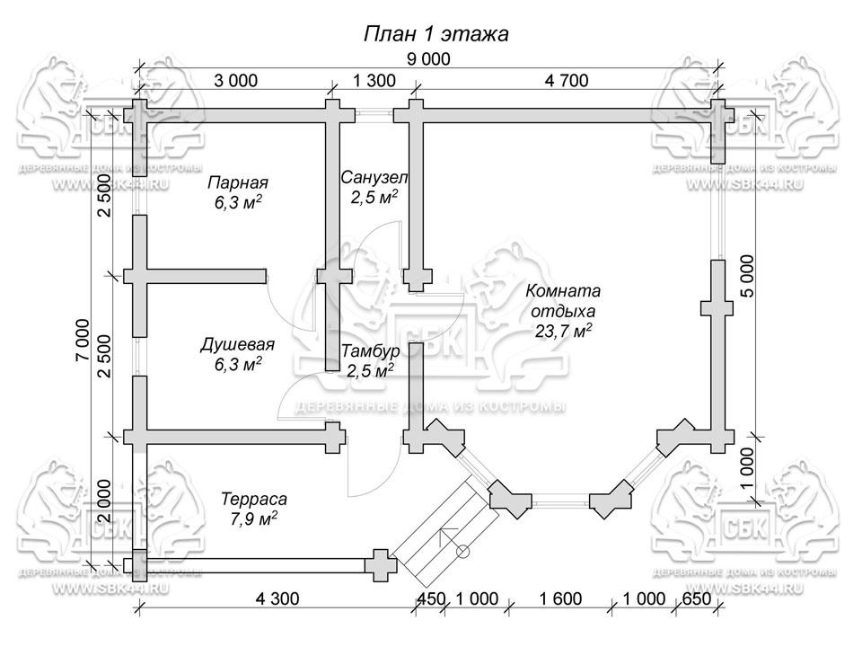 Баня из оцилиндрованного бревна 9 на 7 Альтаир план 1-го эт