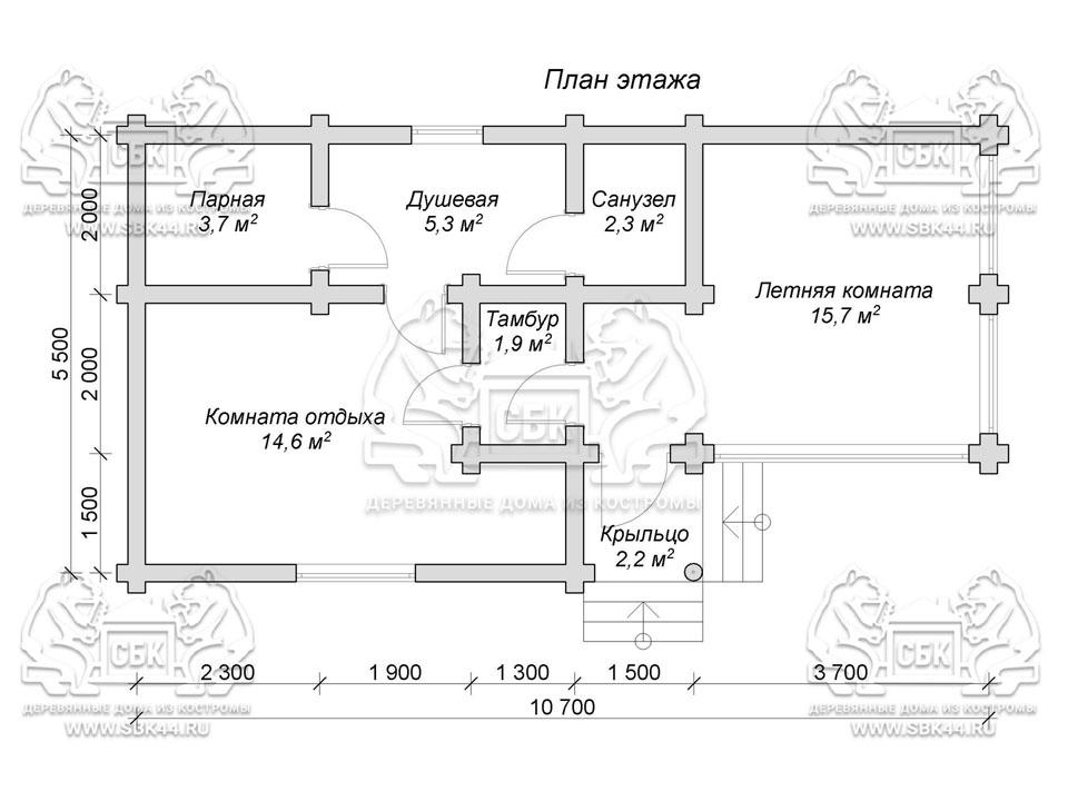 Проект бани из оцилиндрованного бревна 10,7 на 5,5 м «Яхрома» план 1