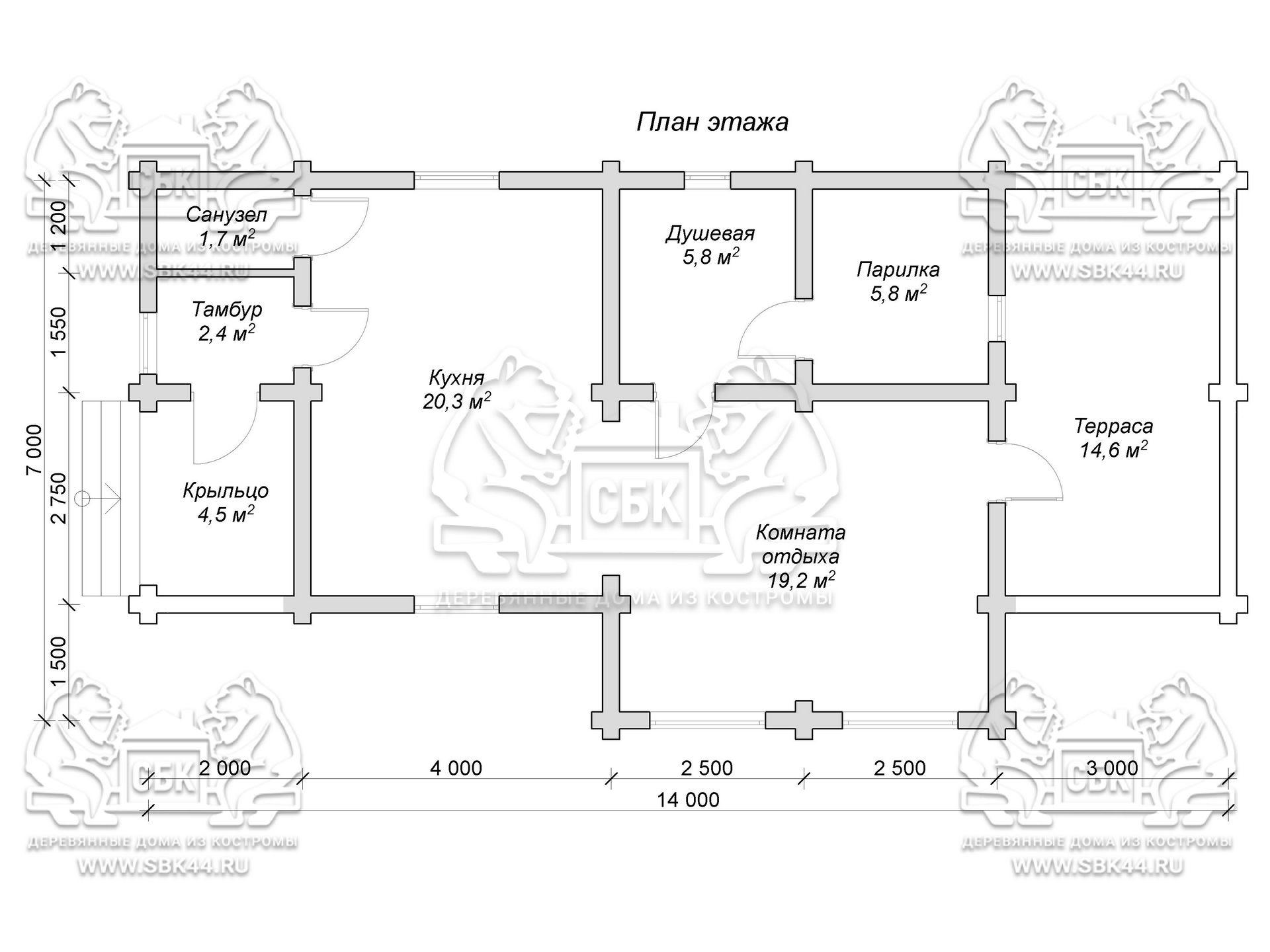 Проект бани из оцилиндрованного бревна 14 на 7 м «Муром» план 1