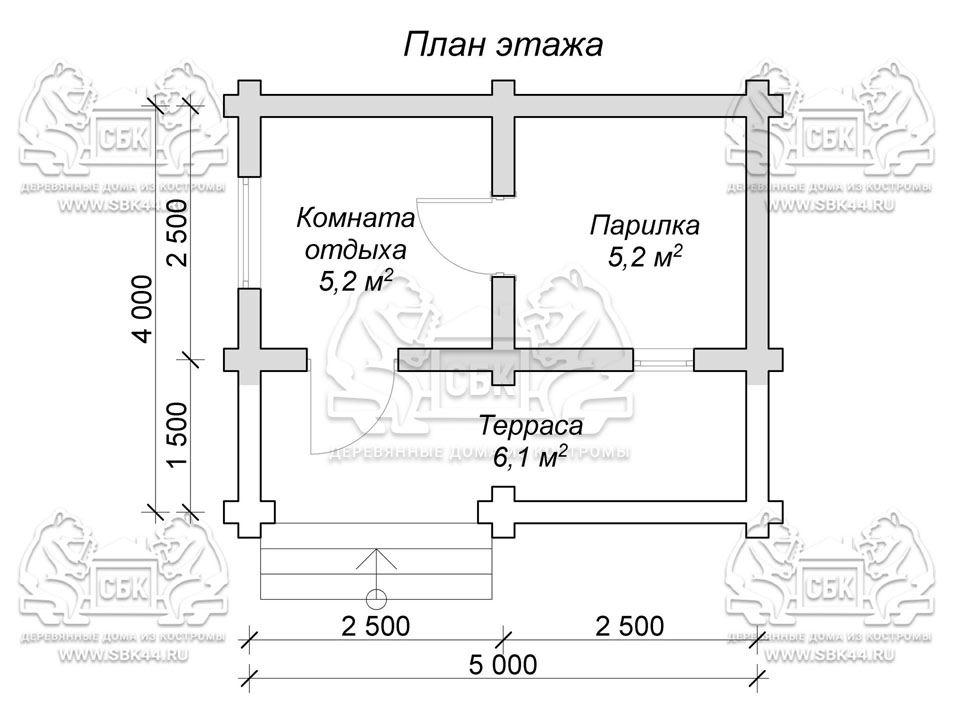 Проект бани из оцилиндрованного бревна 5 на 4 м «Малыш» план 1