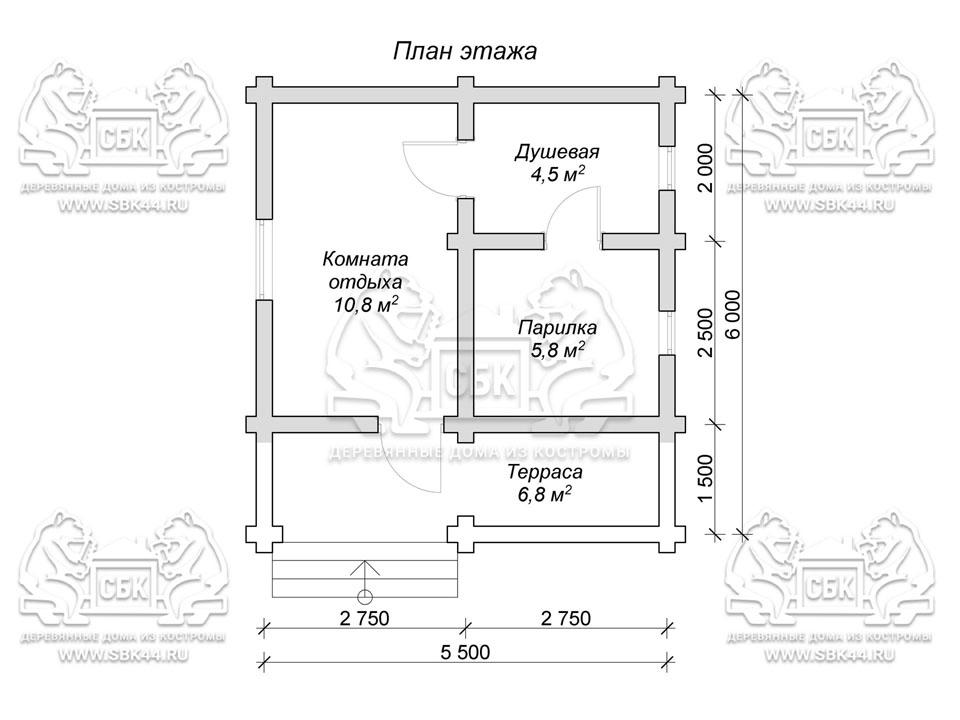 Проект бани из оцилиндрованного бревна 6 на 5,5 м с террасой «Купча» план 1