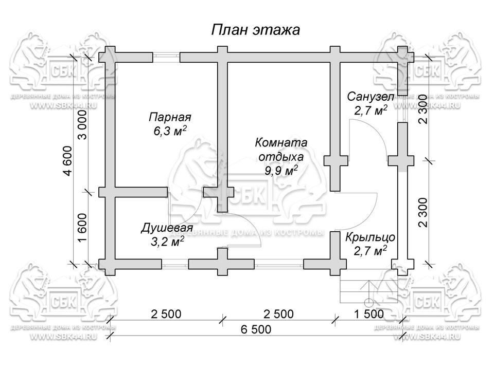 Проект бани из оцилиндрованного бревна 6,5 на 4,6 м «Вальма» План 1