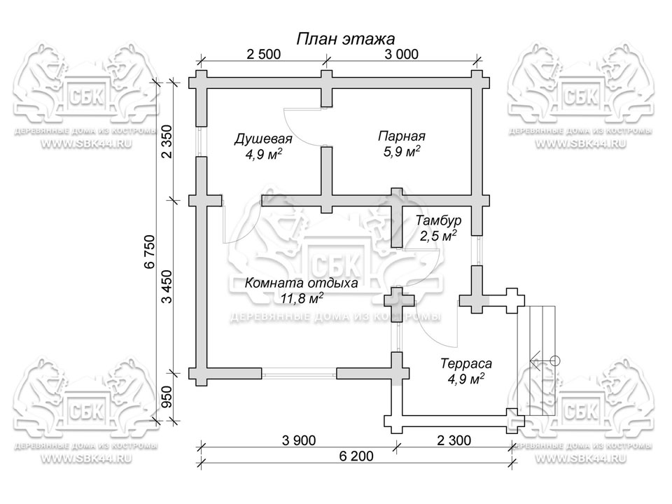 Проект бани из оцилиндрованного бревна 6,75 на 6,2 м «Клязьма» План 1