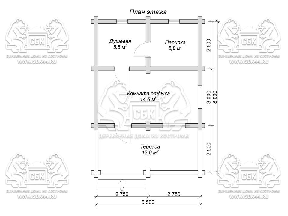 Проект бани из оцилиндрованного бревна 8 на 5,5 м с террасой «Летняя» план 1