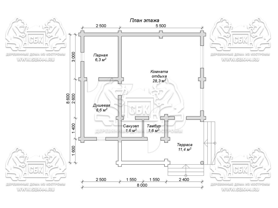 Проект бани из оцилиндрованного бревна 8 на 8,6 м «Старица» план 1