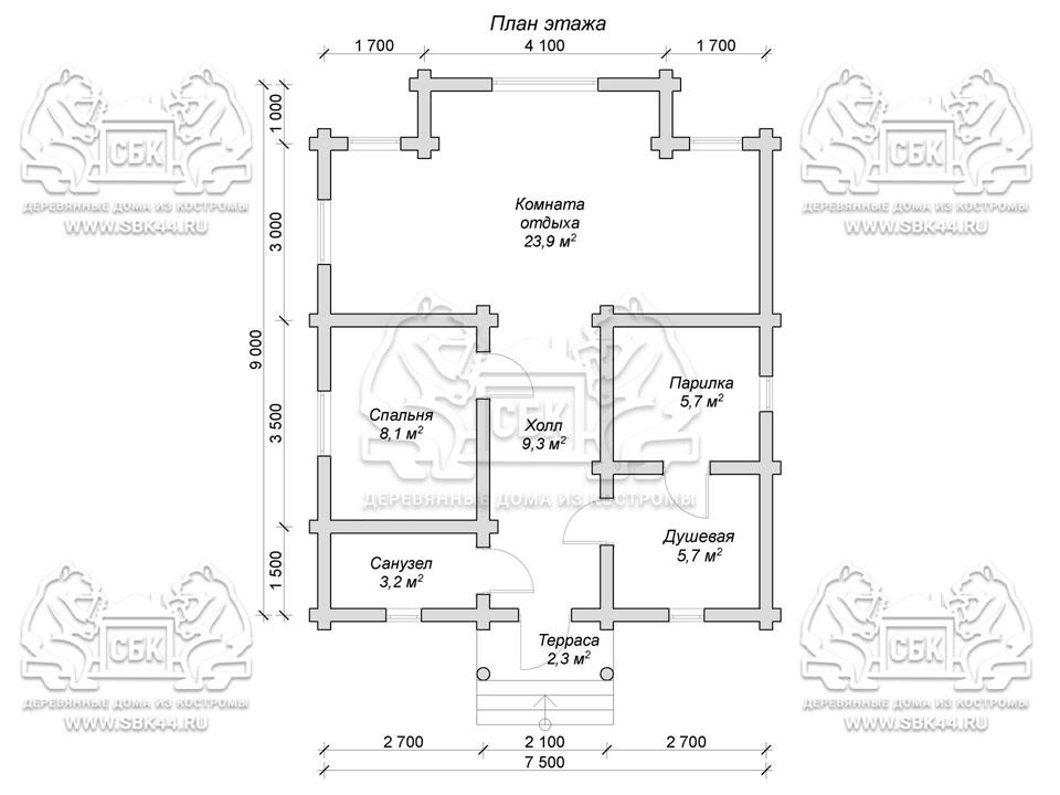 Проект бани из оцилиндрованного бревна 9 на 7,5 м «Черноголовка» план 1