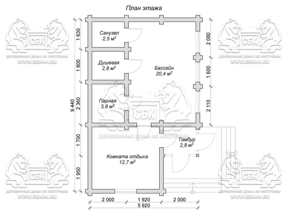 Проект бани из оцилиндрованного бревна 9,5 на 6 м с бассейном «Власиха» план 1