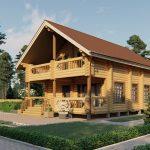 Дом из оцилиндрованного бревна - проект 8 х 11 (2)
