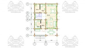 План 1 эт - Дом из оцилиндрованного бревна - проект 8 х 11