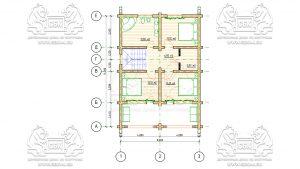План 2 эт - Дом из оцилиндрованного бревна - проект 8 х 11