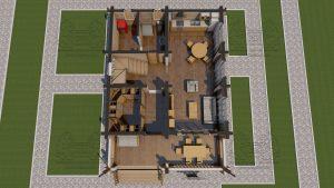 Планировка 1 эт - Дом из оцилиндрованного бревна - проект 8 х 11