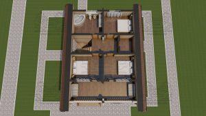 Планировка 2 эт - Дом из оцилиндрованного бревна - проект 8 х 11