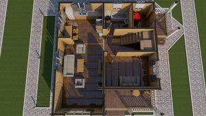 Планировка с мебелью 1 эт - Дом из Бруса 10,5 на 9,5 в 2 этажа - Ясенево