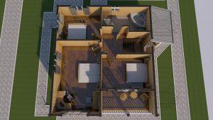 Планировка с мебелью 2 эт - Дом из Бруса 10,5 на 9,5 в 2 этажа - Ясенево