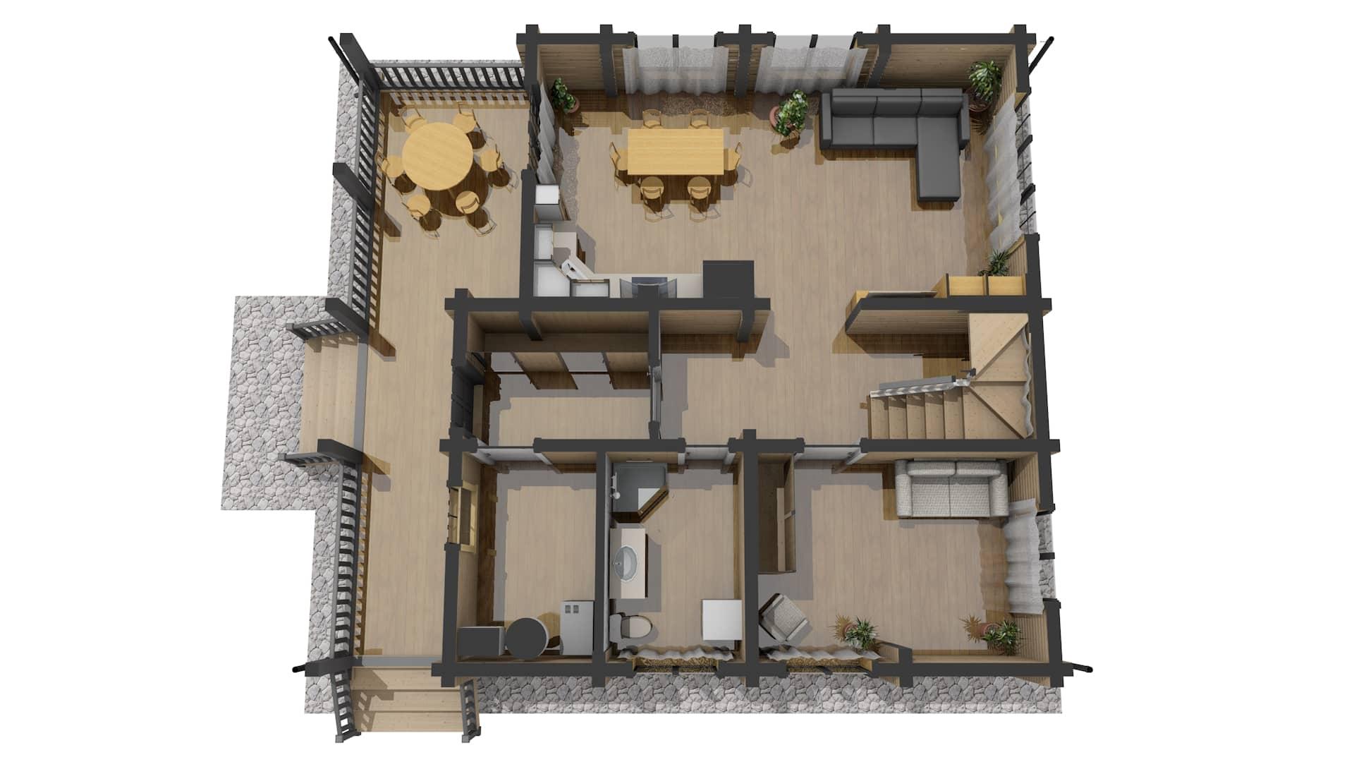 Проект дома из бруса Малиновка - План 1 этажа 3D