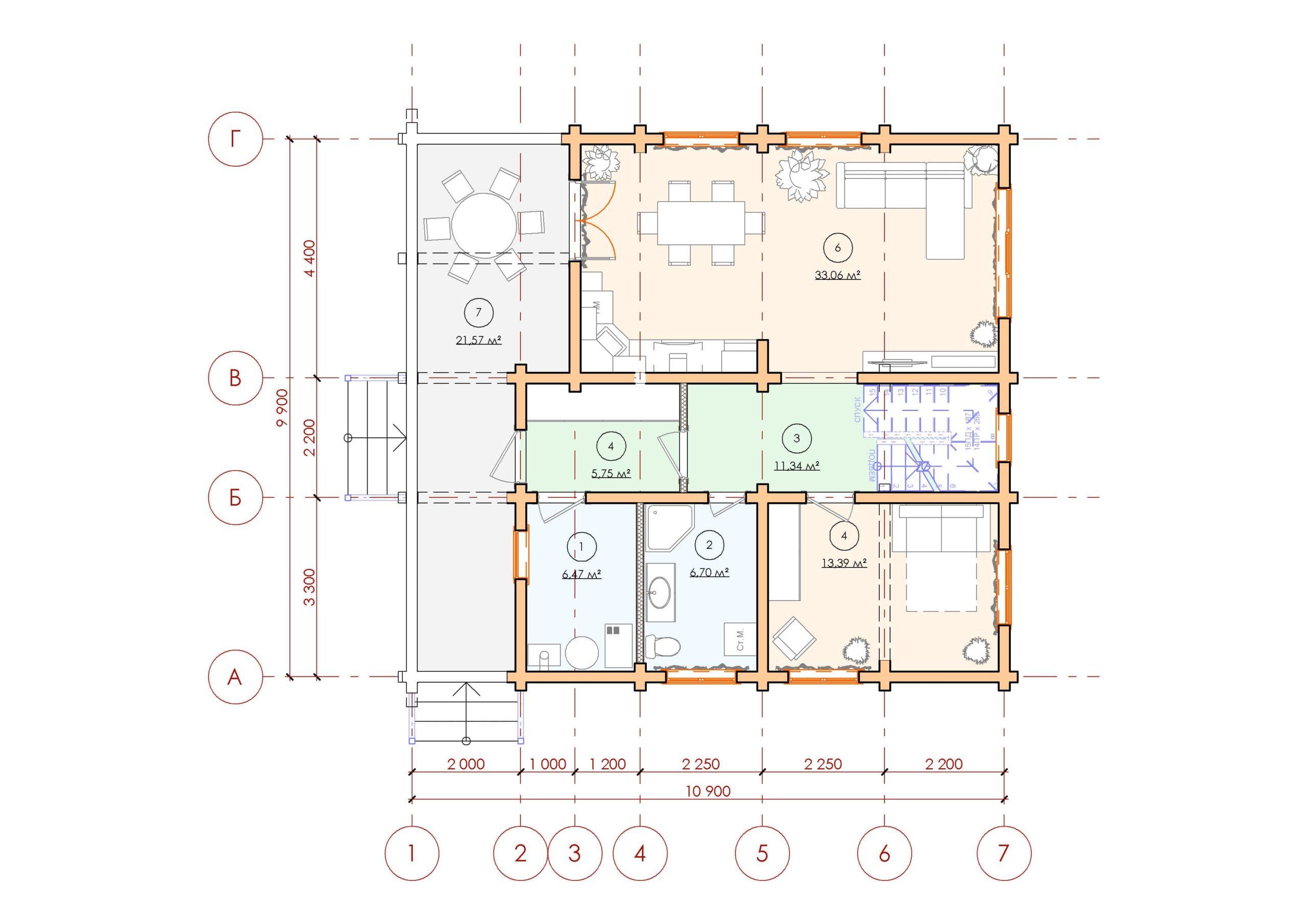 Проект дома из бруса Малиновка - План 1 этажа