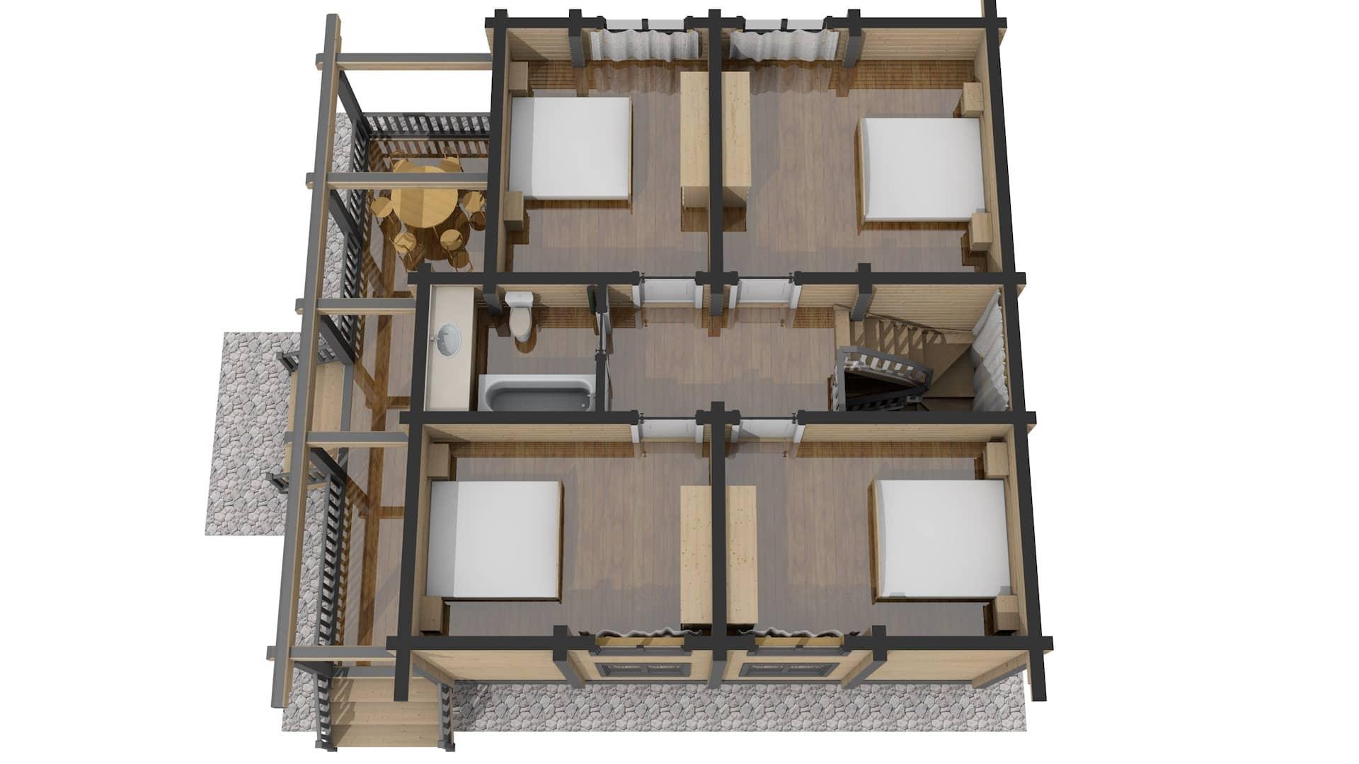 Проект дома из бруса Малиновка - План 2 этажа 3D