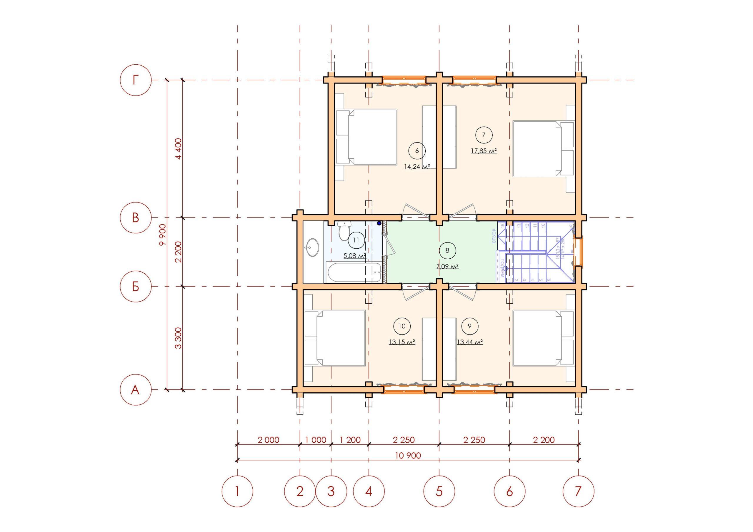 Проект дома из бруса Малиновка - План 2 этажа