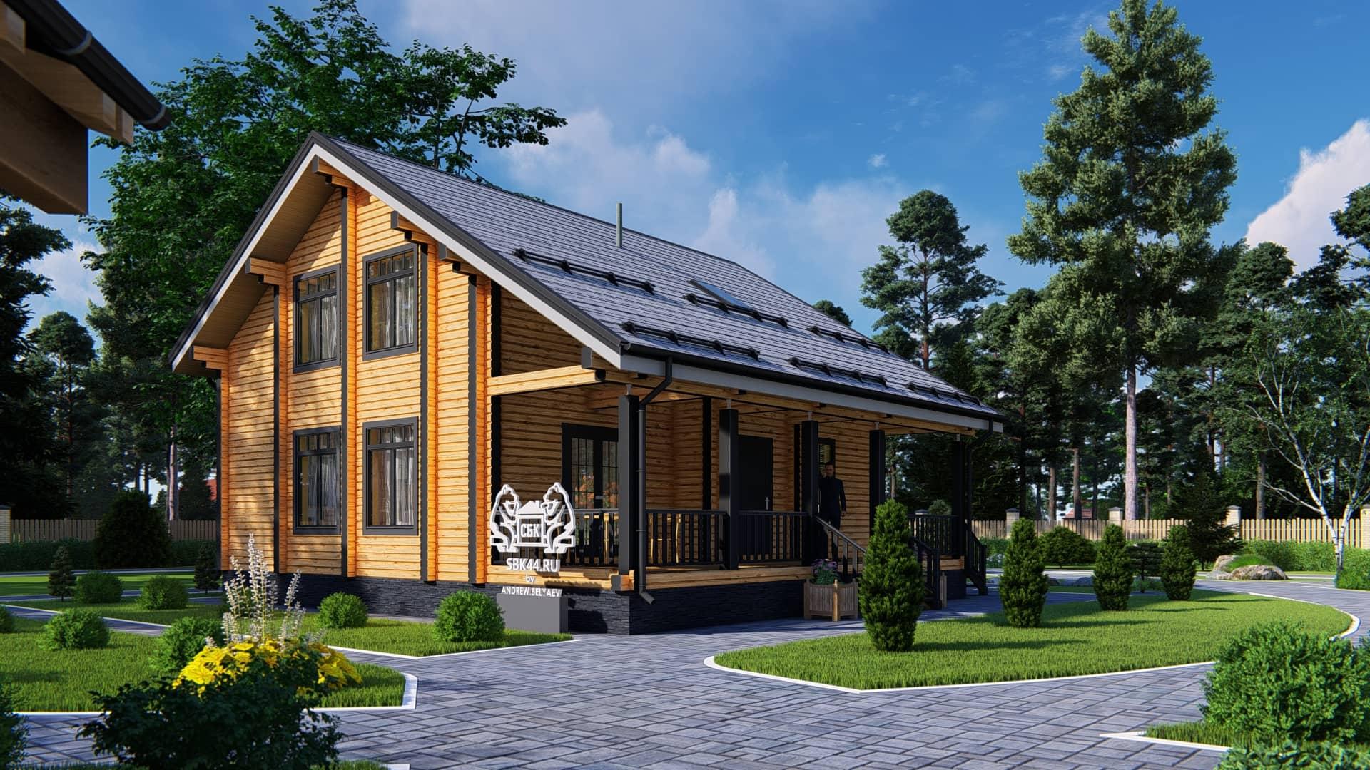 Проект дома из бруса в чашу Малиновка - Внешний вид (1)